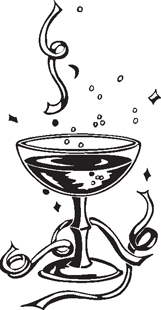 champagne glass decal